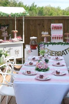 Feast your eyes on this beautiful floral sweet 16! The table settings are wonderful! See more party ideas and share yours at CatchMyParty.com #catchmyparty #partyideas #sweet16 #sweetsixteen #floralparty #girlbirthdayparty
