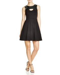 Dylan Gray Faux Leather Yoke Fit and Flare Dress   Bloomingdale's