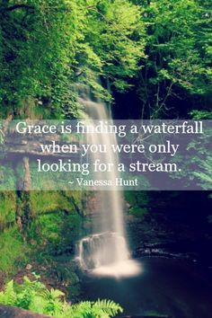 The grace of God is like finding a waterfall when you were only looking for a stream.