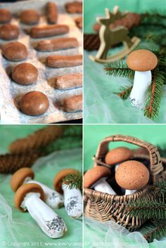 gingerbread mushrooms -- came out ADORABLE, and tasty.  Used a Gooseberry Patch no-chill gingerbread recipe