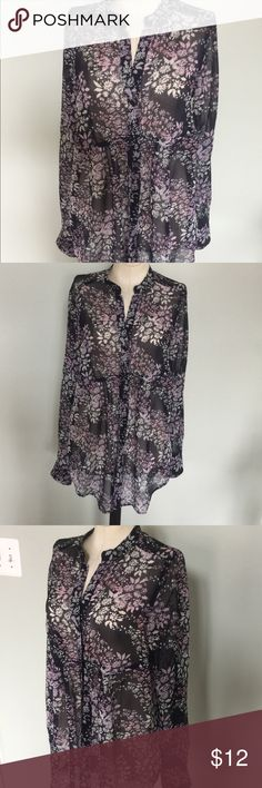 Express Sheer Floral Top Nice button down shirt by Express,Sz S.Very nice condition.Would look great with white jeans or shorts. Express Tops Button Down Shirts