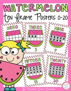 These watermelon themed ten frame posters are very colorful and look great on the wall! Includes numbers 0-20.