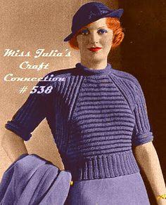 750a63c5a2 Miss Julia s Patterns  Free Pattern - Vintage 1934 Ridge Knitted Sweater   538 Vintage Crochet
