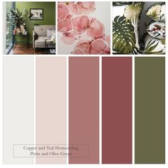 Inspired by this gorgeous flower print by Julie Marie I've created a Farrow and Ball colour palette of pinks and olive green for a stylish, modern interior. Green Color Pallete, Color Schemes Colour Palettes, Green Color Schemes, Green Palette, Olive Green Bedrooms, Green Bedroom Colors, Bedroom Color Schemes, Olive Green Color, Pink Olive