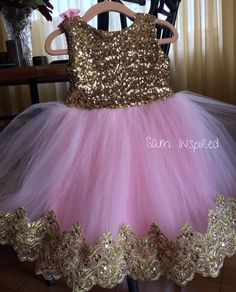 Princess dress /gold and pink dress/ gold dress /