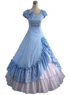 Amazon.com: AvaLolita Women's Cap Sleeve Contrast Color Cotton Victorian Long Lolita Dress: Clothing