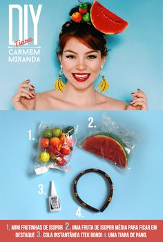 how to diy carmen miranda headscarf Carnaval Diy, Costume Carnaval, Havanna Party, Carmen Miranda Costume, Diy Costumes, Halloween Costumes, Diy Tiara, Banana Costume, Havana Nights Party