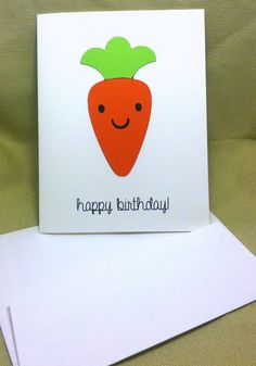 Die Cut Carrot Birthday Card  with Envelope by WillowCreekHandmade, $2.00