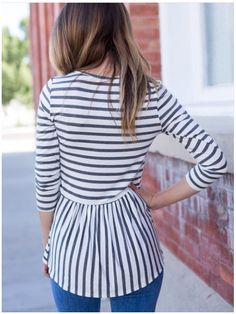 Obsessed with this blue and white striped peplum back top! Perfect for spring! Stitch Fix Spring, Stitch Fix Summer, Stitch Fix Fall 2016 2017. Stitch Fix Spring Summer Fall Fashion.