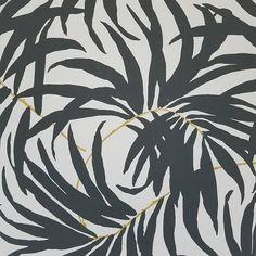 York Bali Tropical mat noir et blanc feuilles papier peint