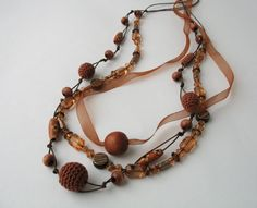 Camel Brown beaded necklace by DreamList on Etsy