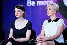 CALL THE MIDWIFE actresses Jessica Rain (Jenny Lee) and Helen George (Trixie) looked adorable while discussing season 2 during the PBS portion of the TCA Winter Press Tour. (photo: Rahoul Ghose/PBS)