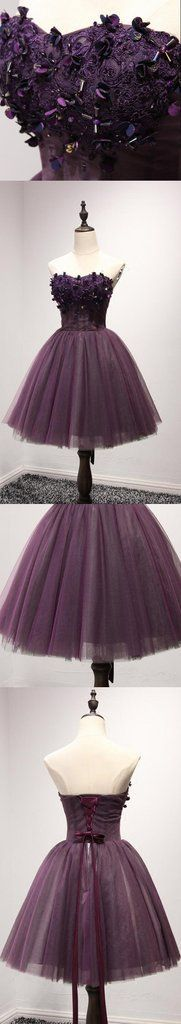 Strapless Purple Lace Homecoming Prom Dresses, Affordable Short Party Corset Back Prom Dresses, Perfect Homecoming Dresses