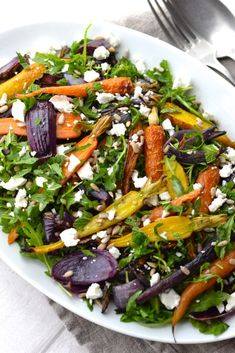 Roasted Carrot and Red Onion Salad with a Spiced Tahini Dressing