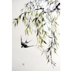 Ink Painting on Rice Paper Japanese art Azian art Suibokuga Sumi-e Black/Large 18x28' Willow and swallow