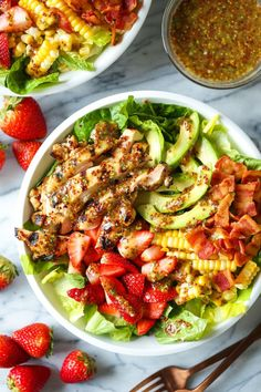 Honey Mustard Chicken Salad - Made with the juiciest, tender honey mustard chicken, romaine, strawberries, avocado and corn. And the dressing is perfection!
