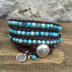 Blue Turquoise Jasper Gemstone Wrap Bracelet on Antique Brown Leather with Silver OM Button Closure and Charm Accent by KyaraCreations on Etsy Wrap Bracelets, Bangles, Jasper Gemstone, Chan Luu, Leather Jewelry, Friendship Bracelets, Macrame, Jewerly, Om