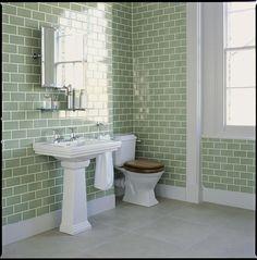 green subway tile bathroom green subway tiles bathroom tile ideas home metro best bathrooms images on room seafoam glass subway tile shower Bad Inspiration, Bathroom Inspiration, Bathroom Renos, Small Bathroom, Bathroom Green, Bathroom Wall, White Bathroom, Tiled Bathrooms, Modern Bathroom