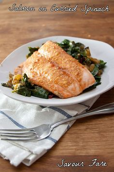 This salmon dish with spinach is flavorful, fast and easy to prepare.