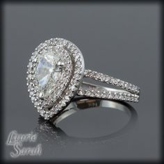 Pear Shaped Diamond Engagement Ring with Diamond Double Halo