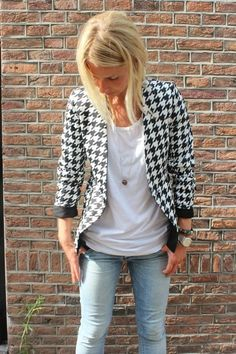 New Blazer Objection Black/white  Now available @  http://www.projectsuitcase.nl/collection/new-collection-objection/new-blazer-zwart-wit.html#