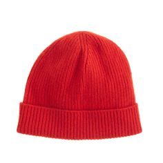 J.Crew men's cashmere hat in bright red.