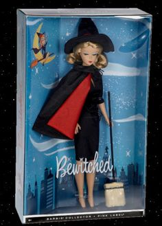 Barbie as Samantha from Bewitched Barbie Collectors Pink Label Doll by Mattel - This doll depicts a reproduction of a Barbie dressed as Samantha. It was not meant to depict Elizabeth Montgomery per se. Barbie Box, Vintage Barbie Dolls, Barbie And Ken, Barbie Halloween, Halloween Fun, Barbie Movies, Barbie Collector, Barbie Friends, Barbie World