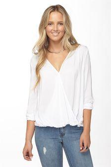 Long Sleeve Wrap Shirt, WHITE