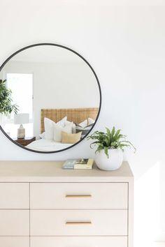 #SeabluffProject #PureSalt #PureSaltInteriors #Seabluff #PlayaVista Interior S, Home Interior Design, Large Round Mirror, Round Mirrors, Decor Inspiration, Decor Ideas, Bedroom Inspiration, Decoration Bedroom, Home Remodeling Diy
