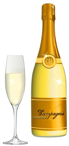 Champagne and Glass PNG Vector Clipart Image