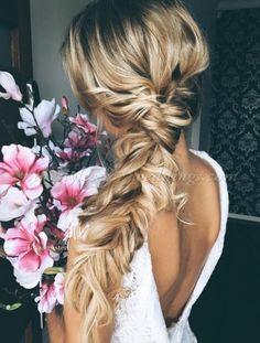 braided wedding hairstyle Wedding Hairstyles For Long Hair, Wedding Hair And Makeup, Wedding Updo, Prom Hairstyles, Boho Wedding, Trendy Hairstyles, Wedding Beach, Trendy Wedding, Elegant Wedding