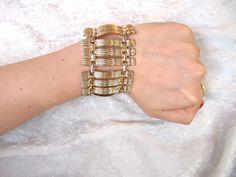 Vintage 1960s Bracelet in Chunky Gold Tone Geometric Style