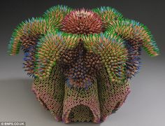 colored pencil sculpture