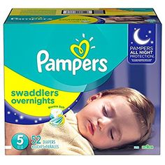 Pampers Swaddlers Overnights Diapers Size 5, 52 Count         ** You can get more details by clicking on the image. (This is an affiliate link) #HealthHousehold