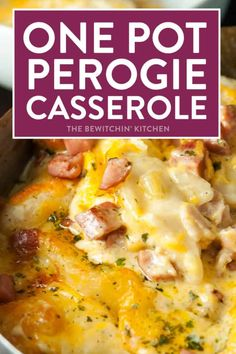 Low Unwanted Fat Cooking For Weightloss This One Pot Perogie Casserole Is A Family Comfort Food Favorite. Sauteed And Baked In The Skillet, This Creamy Bacon And Sausage Dish Is A Favorite For Weeknight Meals. Pierogi Casserole, Pierogi Recipe, Casserole Dishes, Casserole Recipes, Casserole Kitchen, Skillet Recipes, Skillet Meals, Easy Dinner Recipes, Easy Meals