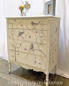 Vintage dresser painted with General Finishes Milk Paint. Hand painted and stenciled by Rachel at Artistic Home Studio & Boutique.
