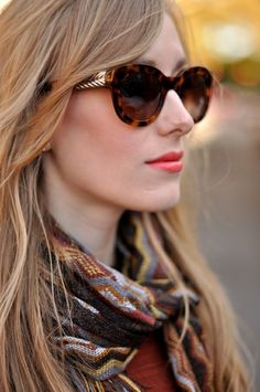 The frames on these sunglasses are to DIE.  I'm really in love with the makeup and coordinating scarf as well.   Beautiful.