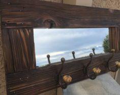 Barn wood Mirror Barnwood Coat Rack Nautical by LynxCreekDesigns