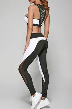 $18.01 Geometric Print Bra and Mesh Spliced Slimming Leggings