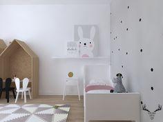 Pokój dziecięcy, pokoik dla dziewczynki, pokój w stylu skandynawskim, tapeta w pokoju dziecięcym, przytulny pokoik dziecięcy