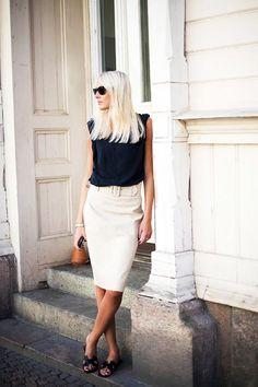 Pencil skirt, black tank + Hermes sandals