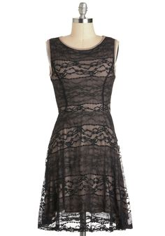 Bridesmaids dress idea  Let It Be Stone Dress - Mid-length, Black, Tan / Cream, Solid, Lace, Party, A-line, Sleeveless, Formal