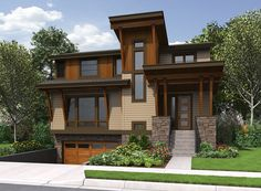 Contemporary House Plan for Sloping Lot - 23569JD | Contemporary, Northwest, Narrow Lot, 2nd Floor Master Suite, Butler Walk-in Pantry, CAD Available, Jack & Jill Bath, Media-Game-Home Theater, PDF, Sloping Lot | Architectural Designs