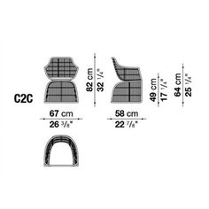B&B Italia Crinoline Outdoor Armlehnstuhl mit Abakageflecht 67 cm