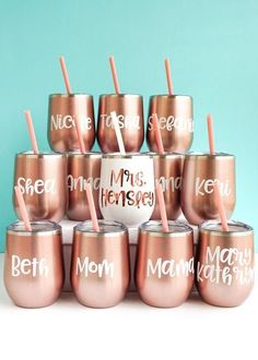 You're going to LOVE our wine tumblers! These personalized wine tumblers make perfect bridesmaid gifts. The stainless-steel drink tumblers are for hot and cold drinks! You'll love these bridesmaid tumblers for a bridal shower gift from bride, bachelorette party bridesmaid tumblers, bridal party tumblers, bachelorette cups, bridesmaid cups, bridesmaid proposal or as a wedding weekend gift. For more bridesmaid gift ideas check our site! #bridalpartygifts #bridesmaidtumblers