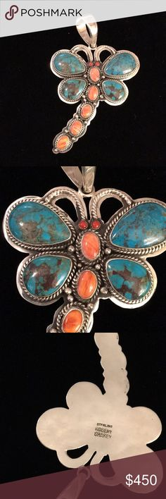 Robert Shakey Navajo Turquoise dragonfly pendant Turquoise and sterling silver dragonfly pendant. Includes spiney oyster and coral. Almost 4 inches long, including bale. Signed by Robert Shakey. NWOT. Beautiful piece. Robert Shakey Jewelry Necklaces
