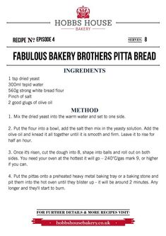The Fabulous Baker Brothers: Pitta Bread - Hobbs House Bakery - Episode 4 Easy Bread Recipes, Muffin Recipes, Bread Ingredients, Savoury Baking, Bread Board, Bread And Pastries, Pitta, Bakery Recipes, Hobbs
