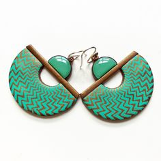 https://flic.kr/p/281EWNJ | Silk screened polymer clay earrings with UV resin | by Shelley Atwood