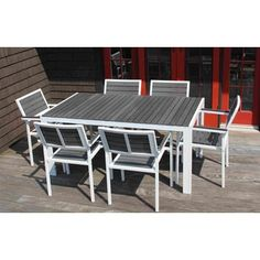 Outdoor Patio Garden Furniture Dining Table Set 7 Piece Set Lawn Deck Chair (White W/Grey) Deck Chairs, Patio Table, Table And Chairs, Furniture Dining Table, Patio Furniture Sets, Garden Furniture, Outdoor Furniture, Outdoor Dining Set, Outdoor Tables