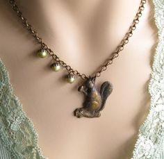 FREE SHIPPING Squirrel Necklace, Woodland Jewelry, Gifts for Mom, Squirrel Lover, Acorn Necklace, Gift for Her Jewelry, Gift for Aunt